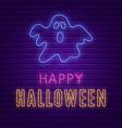 happy halloween bright signboard neon banner vector image vector image