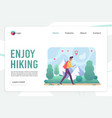 hiking landing page flat template vector image