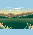 hills mountains landscape in flat style design vector image