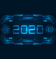 hud ui futuristic frame with text 2020 happy new vector image vector image