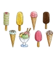 Ice cream cone popsicle and sundae sketch vector image vector image