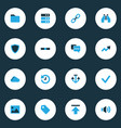 interface icons colored set with download folder vector image