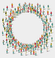 large group of people in the shape of circle vector image vector image