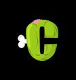 letter c zombie font monster alphabet bones vector image vector image