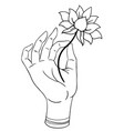lord buddha hand with eye holding lotus flower vector image vector image
