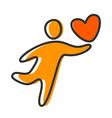 love heart person icon vector image