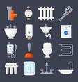 plumbing and heating set vector image vector image