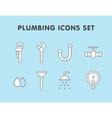 plumbing flat line icons set vector image