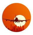 round logo flying airplane at sunset