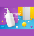 scene with pump shampoo bottle paper box vector image