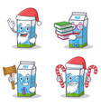 set of milk box character with santa candy book vector image vector image