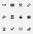 set of simple startup icons elements graph vector image vector image