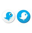 Social media blue bird labels vector image vector image