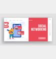 social networking website landing page man vector image vector image
