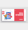 social networking website landing page man with vector image vector image