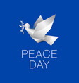 white origami dove with branch on blue background vector image