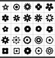 flower icon set on white background vector image