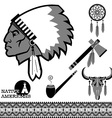 North american indian man portrait and traditional vector image