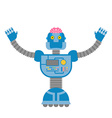 Robot Cybernetic mechanism with human brain Clever vector image