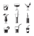 Assortment of Black Cocktail Icons vector image