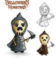 Halloween monsters scary cartoon grim reaper EPS10 vector image