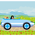woman with children goes on vacation vector image