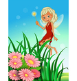 A fairy holding a wand near the garden with vector image vector image