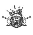 angry gorilla head in royal crown vector image vector image