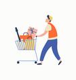 cartoon casual man carrying heap goods on vector image