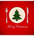 Christmas tree on a platter vector image vector image