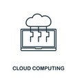 cloud computing icon thin outline style design vector image