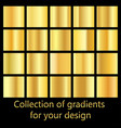 collection of golden gradient backgrounds set of vector image vector image