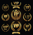 collection vip golden label with laurel wreath vector image vector image