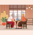 couple in cafe friends in coffee shop eating vector image vector image