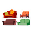 cozy sofa divan cushioned furniture set vector image