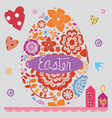 easter post card with a set of flower elements vector image vector image