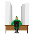 Elf at table and lot of childrens letters vector image