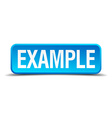 example blue 3d realistic square isolated button vector image
