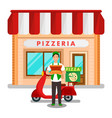 family pizzeria delivery service flat vector image vector image