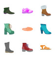 fashion shoes icon set flat style vector image vector image