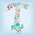 floral letter t with blue ribbon vector image vector image