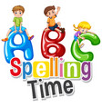 font design for word spelling time with happy vector image vector image