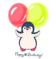 funny cartoon penguin with balloons vector image