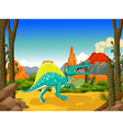 funny dinosaur cartoon with forest background vector image vector image