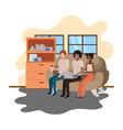 group people using laptop in livingroom vector image vector image
