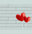 heart balloons on wooden background vector image