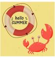 hello summer lifebuoy crab yellow background vector image vector image