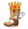 king leather cowboy boots shape cartoon funny vector image vector image
