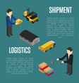 logistics shipment isometric banner with people vector image