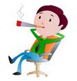 man smoking a cigarette vector image vector image